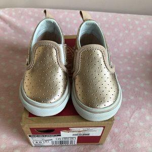 Vans toddler size 4 rose gold slip on sneakers